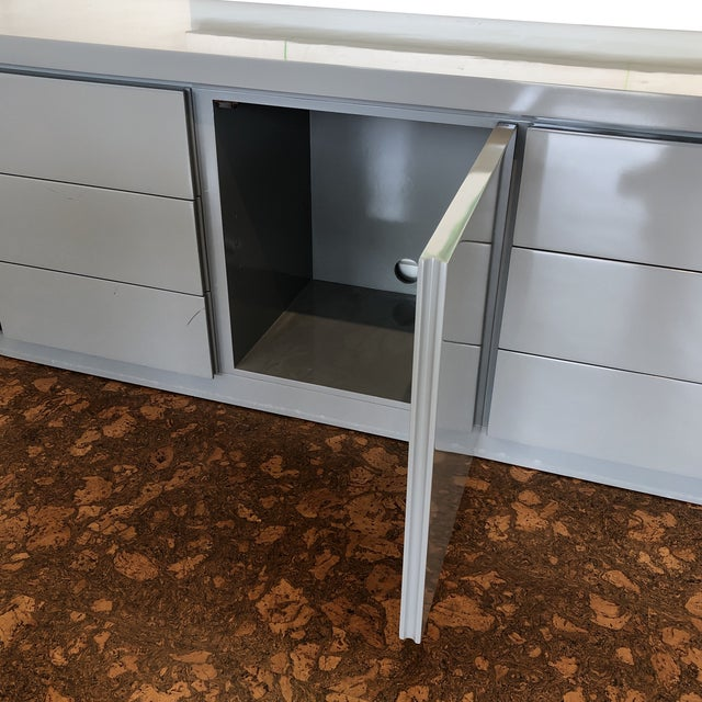 Contemporary Grey Lacquer Credenza For Sale - Image 4 of 5