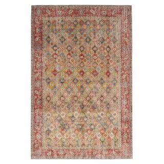 "1950s Vintage Mid-Century Geometric-Floral Wool Rug-5'5'x8"" For Sale"