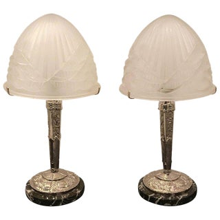 Pair of French Art Deco Table Lamps by Schneider For Sale