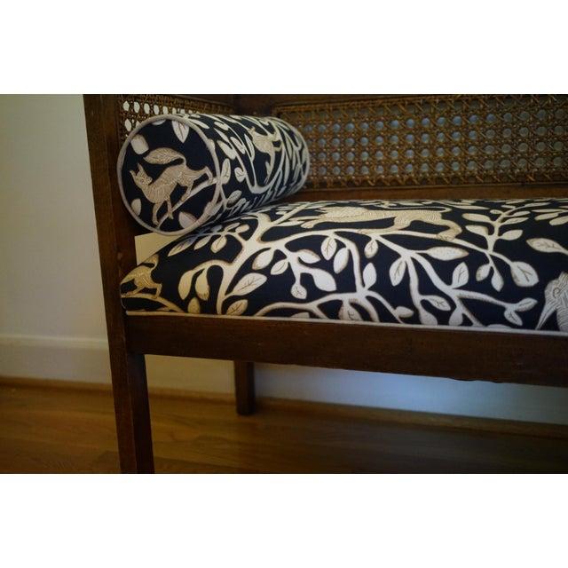 Mid-Century Robert Allen Upholstered Cane Settee For Sale - Image 10 of 13