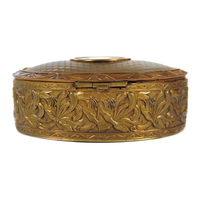 """Metal 19th C. Bronze & Enamel 5"""" Oval Jewelry Box For Sale - Image 7 of 9"""
