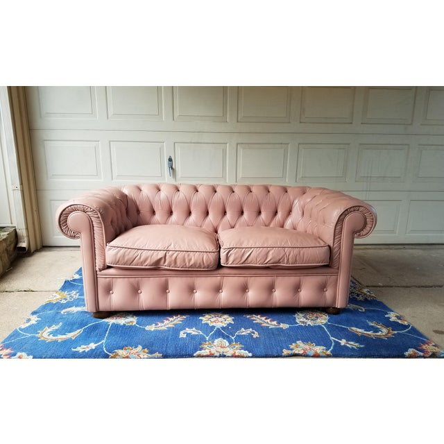 Vintage Mid Century English Chesterfield Leather Sofa For Sale - Image 13 of 13