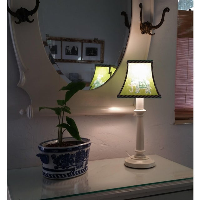 Lee Jofa Green Lilly Pulitzer Fabric Clip on Coastal Elephant Lampshade For Sale - Image 4 of 11