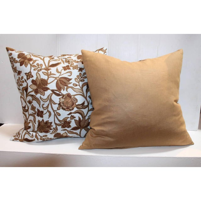 Pair of Stenciled on Linen Pillows For Sale - Image 4 of 4