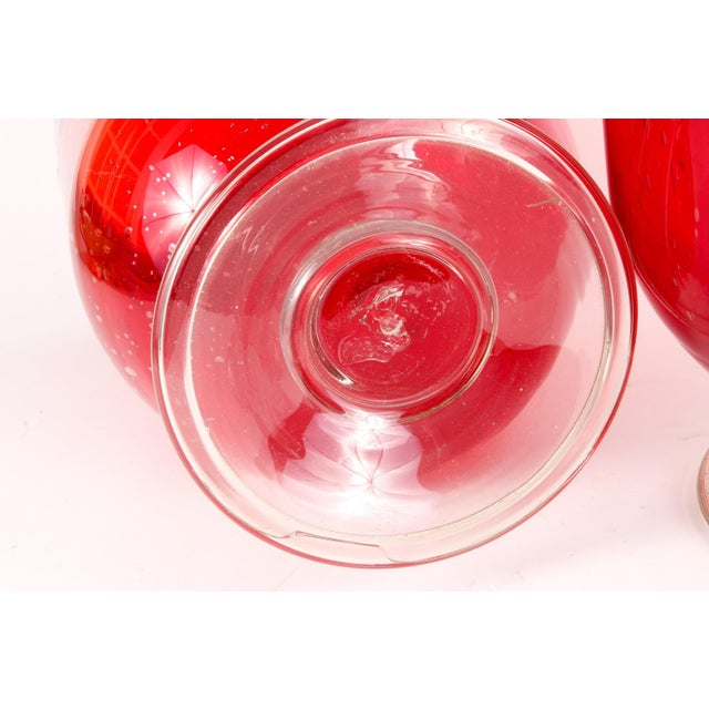 Glass Cranberry Red Hurricane Vases- a Pair For Sale - Image 7 of 9