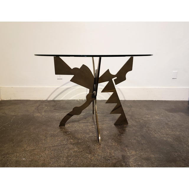 Metal Brutalist Memphis Era Dining Table by Pucci De Rossi For Sale - Image 7 of 7