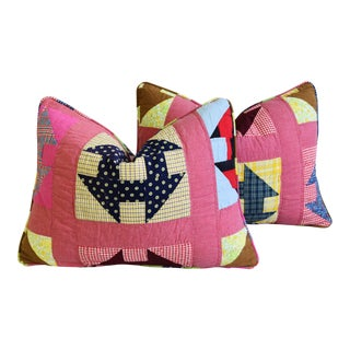 """Shabby Chic Farmhouse American Patchwork Feather/Down Pillows 24"""" X 18"""" - Pair For Sale"""