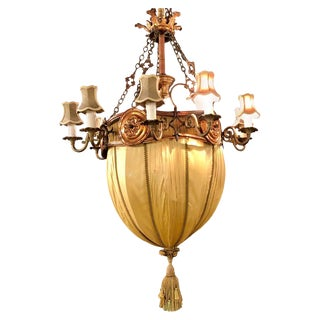 Palatial Light Fixture in Copper, Brass and Iron With Silk Dome Shade For Sale