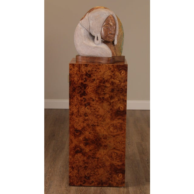 High Quality Carved Stone Sculpture on Custom Burl Wood Pedestal Store Item#: 24087