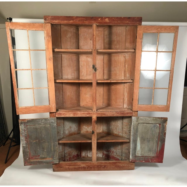 19th Century New England Country Corner Cupboard C. 1840 For Sale - Image 9 of 13