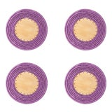 Image of Round Sisal & Wood Solid Coasters in Lilac - Set of 4 For Sale