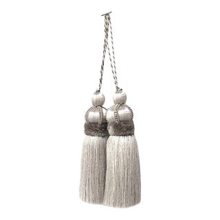 Silver Key Tassels With Cut Ruche - a Pair For Sale
