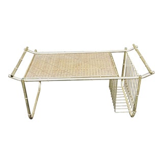 Vintage Brass Faux Bamboo Breakfast Tray With Cane Detailing For Sale