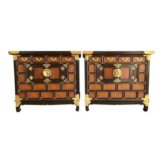 Chinoiserie Burl Wood Cabinets - 2 Pieces For Sale