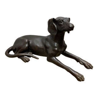1960s Bronze Reclining Dog Figure For Sale