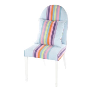 Contemporary Painted Wood Frame Upholstered Side Chair For Sale