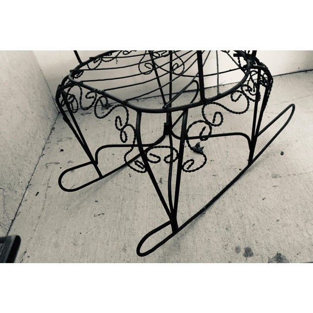 Wrought Iron Peacock Rocking Chair For Sale - Image 10 of 11