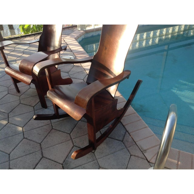 Móveis Cimo Brazil Wood Arm Chairs- A Pair - Image 5 of 9
