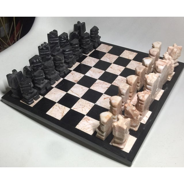Carved Aztec-Style Marble Chess Set For Sale - Image 4 of 6
