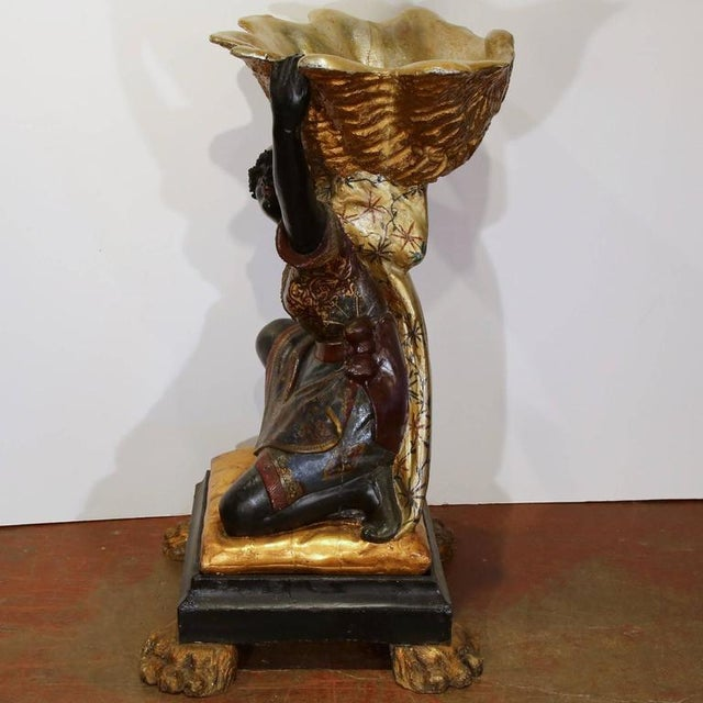Black 19th Century Italian Carved Polychrome Blackamoor Sculpture With Jardiniere For Sale - Image 8 of 10