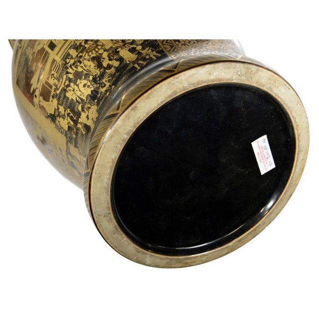 Mid 20th Century Vintage Black and Golden Hand-Painted Porcelain Vase from China, 20th Century For Sale - Image 5 of 11
