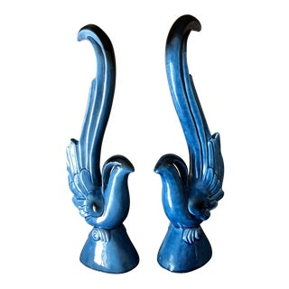 Mid-Century Modern Turquoise Blue Ceramic Birds of Paradise - a Pair