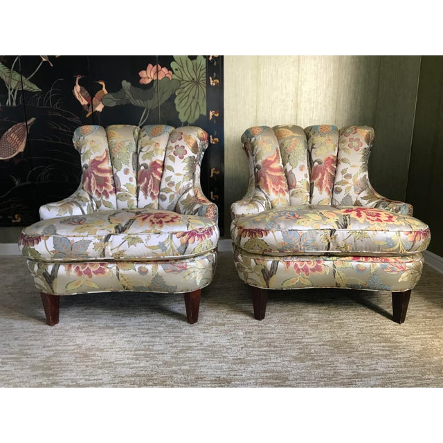 1940s Pullman Armless Floral Silk Upholstered Slipper Chairs - a Pair For Sale - Image 13 of 13