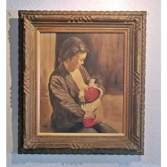 Canvas Hiyashi NoBuo Oil on Canvas - Nursing Mother For Sale - Image 7 of 7