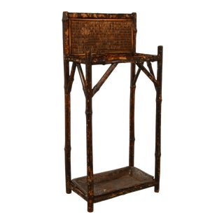 Antique Tortoise Shell Bamboo Umbrella Stand For Sale