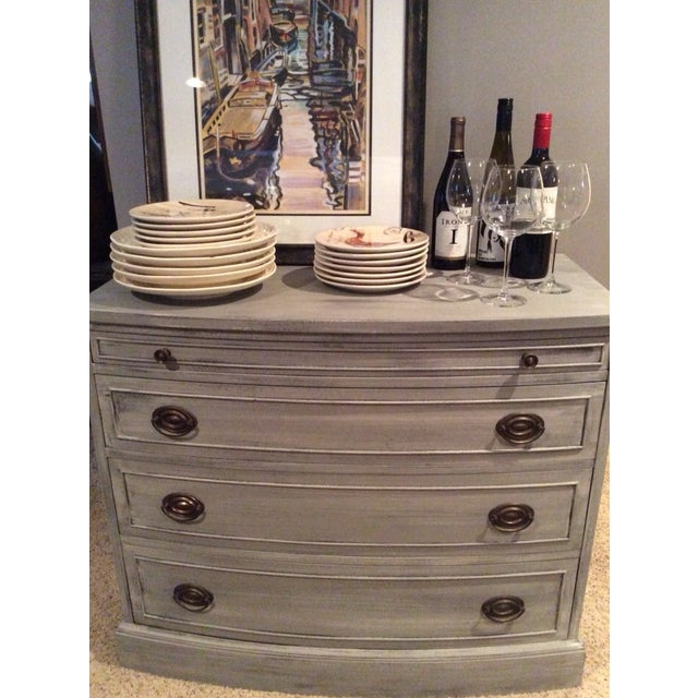Distressed Grey Bowfront Federal Style Chest - Image 4 of 9