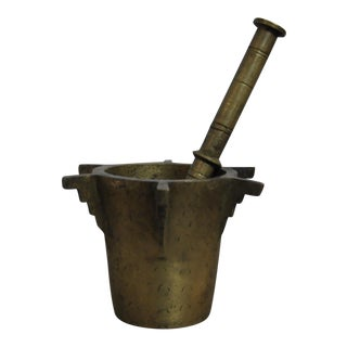 Antique Ottoman Turkish Heavy Bronze Mortar and Pestle For Sale