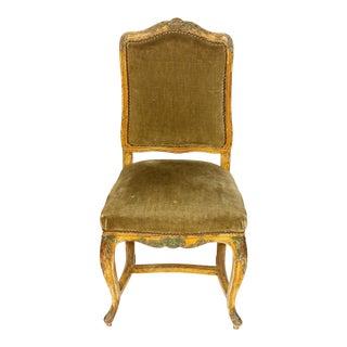 European Velvet Side Chair For Sale
