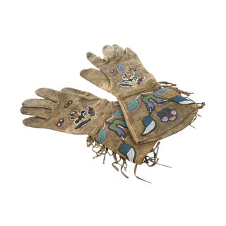 Antique Native American Leather & Beads Gloves - a Pair For Sale