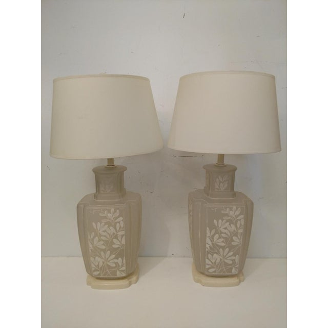 1970 S Hand Painted Frosted Glass Table Lamps A Pair Chairish