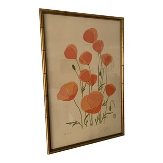 "1970s ""Poppies"" Asian Modernist Botanical Lithograph by Chu, Framed For Sale"