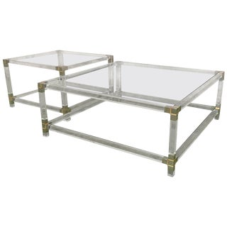 Pair of Midcentury Square Lucite Coffee Tables With Chromed Metal Details For Sale
