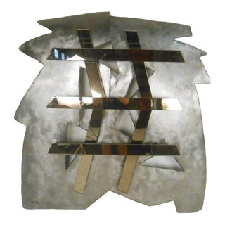 Mirrored Modernist Metal Wall Sculpture by Deidre Selig For Sale