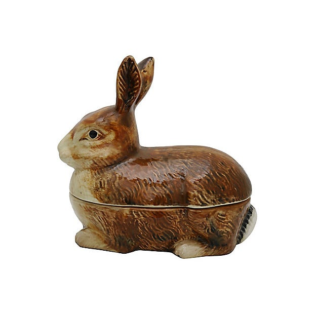 Vintage rabbit-shaped pâté tureen. Made in Portugal and hand-painted in France for the French market. No maker's mark.