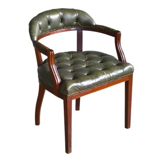 Midcentury Danish Chesterfield Style Court Chair in Patinated Green Leather For Sale