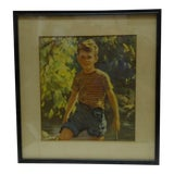 "Image of Vintage Framed Print - ""Boy Outdoors"", 1940 For Sale"
