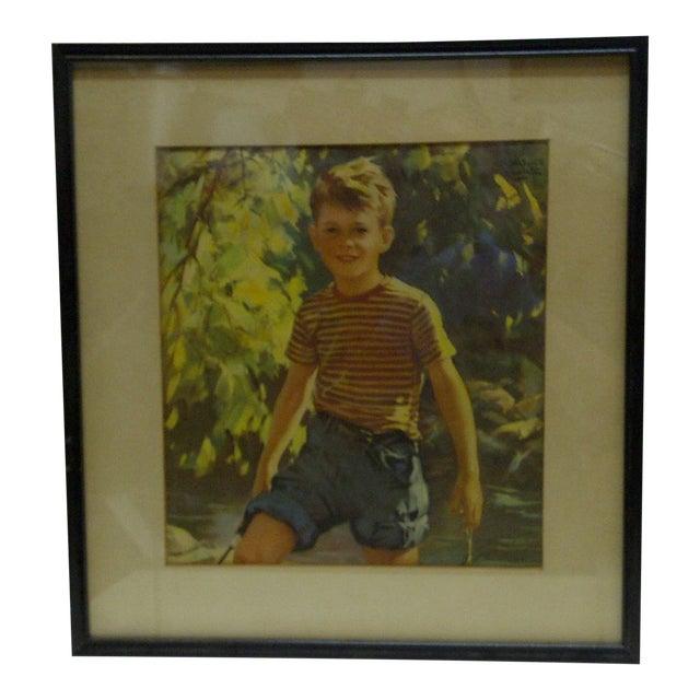 """Vintage Framed Print - """"Boy Outdoors"""", 1940 For Sale"""