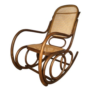 Thonet Bentwood and Cane Double Circles Rocking Chair For Sale