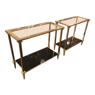 Guy Lefevre Refined Pair of Two Tiers Side Tables With Bronze Pure Hardware