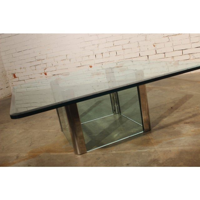 Pace Collection Pace Collection Chrome & Glass Square Coffee Table For Sale - Image 4 of 11