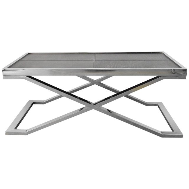 Black Black Leather and Stainless Steel Coffee Table by Fabio Ltd For Sale - Image 8 of 8