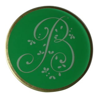 "Green Glass Monogram Initial Letter ""B"" Decorative Plate For Sale"