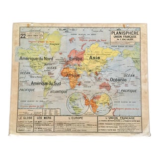 1950s Vintage Large French World Map