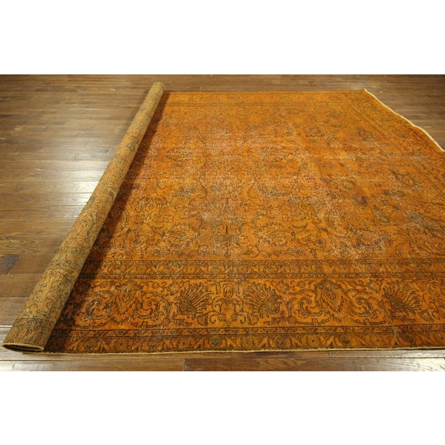 "Orange Tabriz Overdyed Area Rug - 9'10"" X 12'3"" - Image 10 of 10"