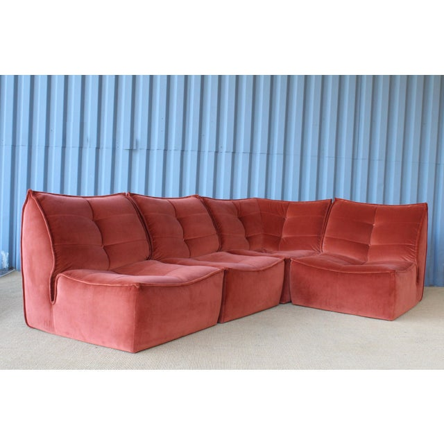 1970s Four-Piece Sectional Sofa, Italy, 1960s For Sale - Image 5 of 12
