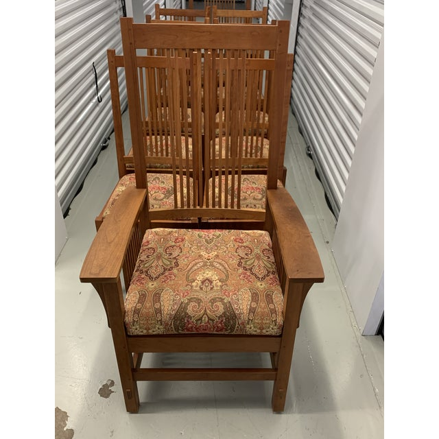 L. & J.G. Stickley, Inc. Stickley Spindle Arm Chair and Dining Chairs- Set of 10 For Sale - Image 4 of 13